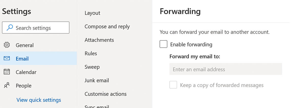 By default, users can setup email auto-forwarding on their own Microsoft 365 account
