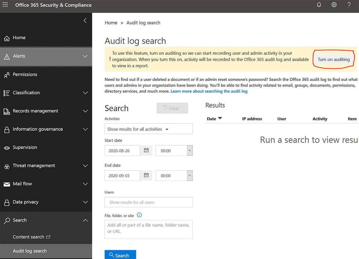 How do I turn on Audit log search in Microsoft 365.